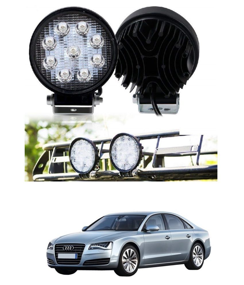 Auto Addict DEVICE 4 inch, 9 LED 27Watt Round Fog Light with Flood Beam Auxiliary Lamp Set Of 2 Pcs For Audi A8