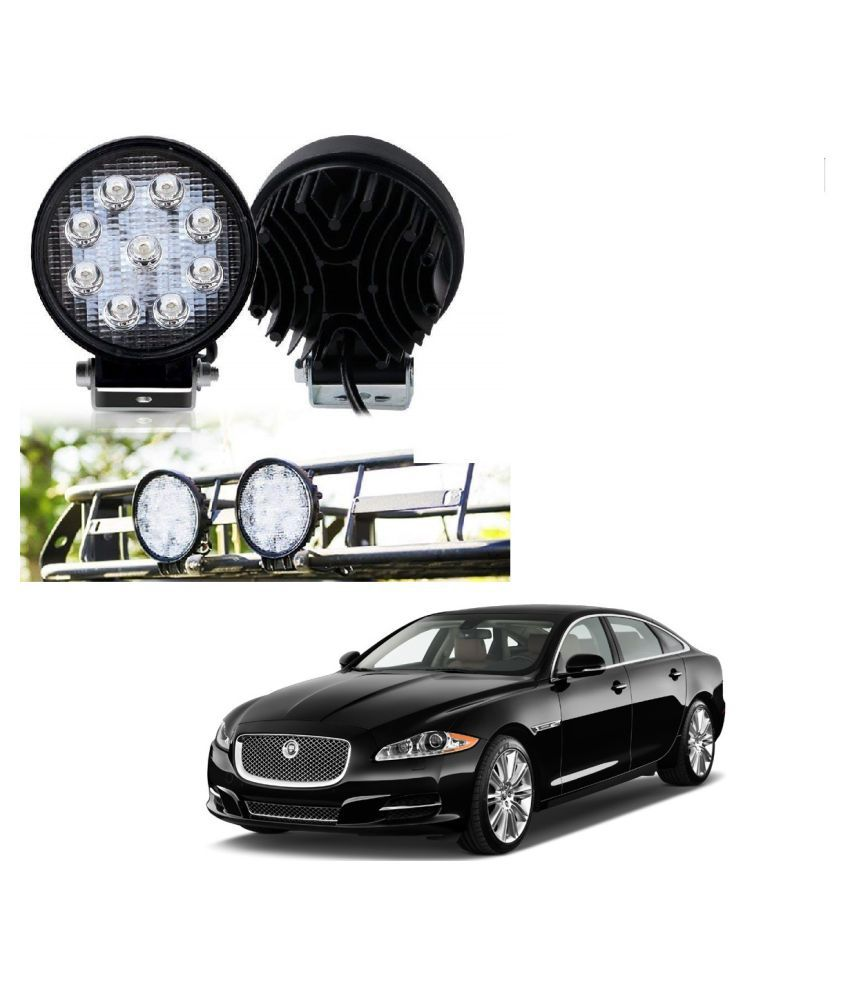 Auto Addict DEVICE 4 inch, 9 LED 27Watt Round Fog Light with Flood Beam Auxiliary Lamp Set Of 2 Pcs For Jaguar XJ-TYPE