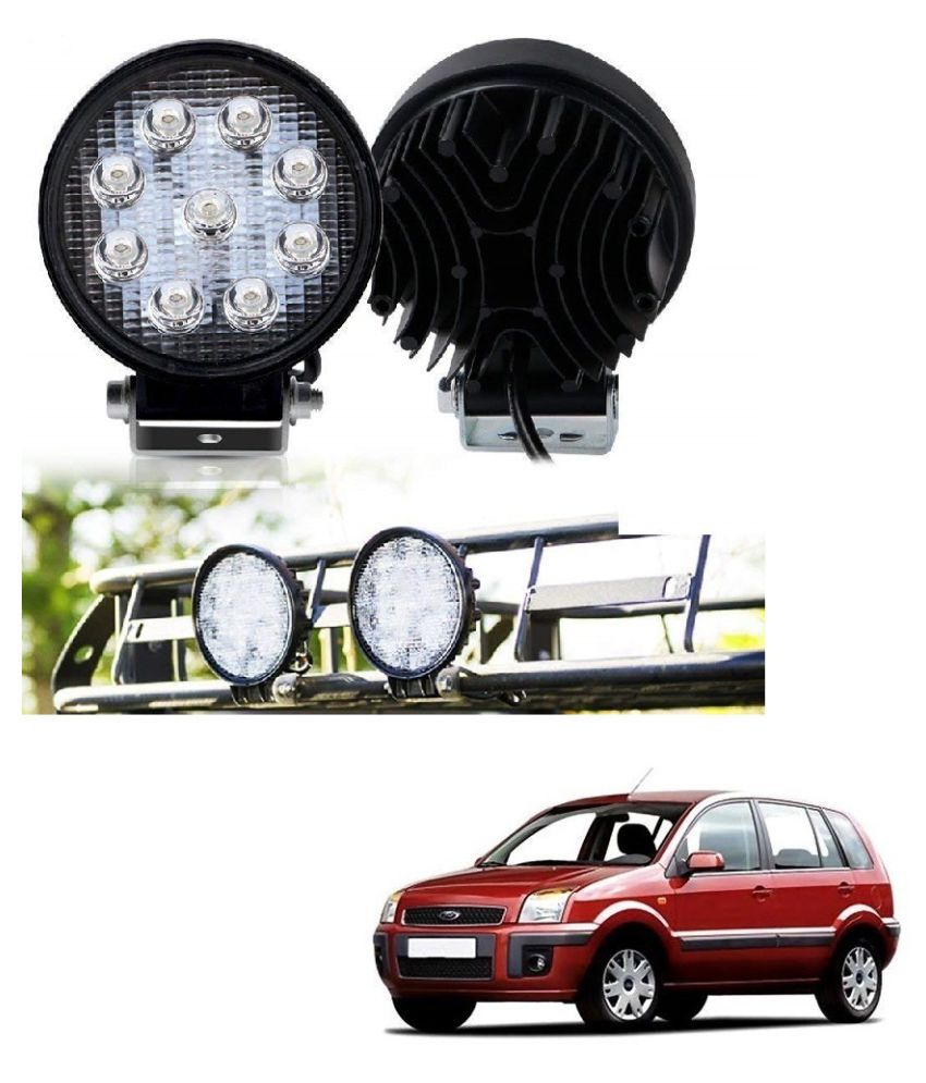 Auto Addict DEVICE 4 inch, 9 LED 27Watt Round Fog Light with Flood Beam Auxiliary Lamp Set Of 2 Pcs For Ford Fusion