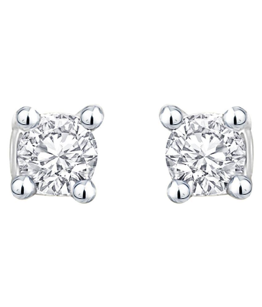 MFJ Fashion Jewellery Eye-Catchy Brass Rhodium Plated Stud Earring For Women