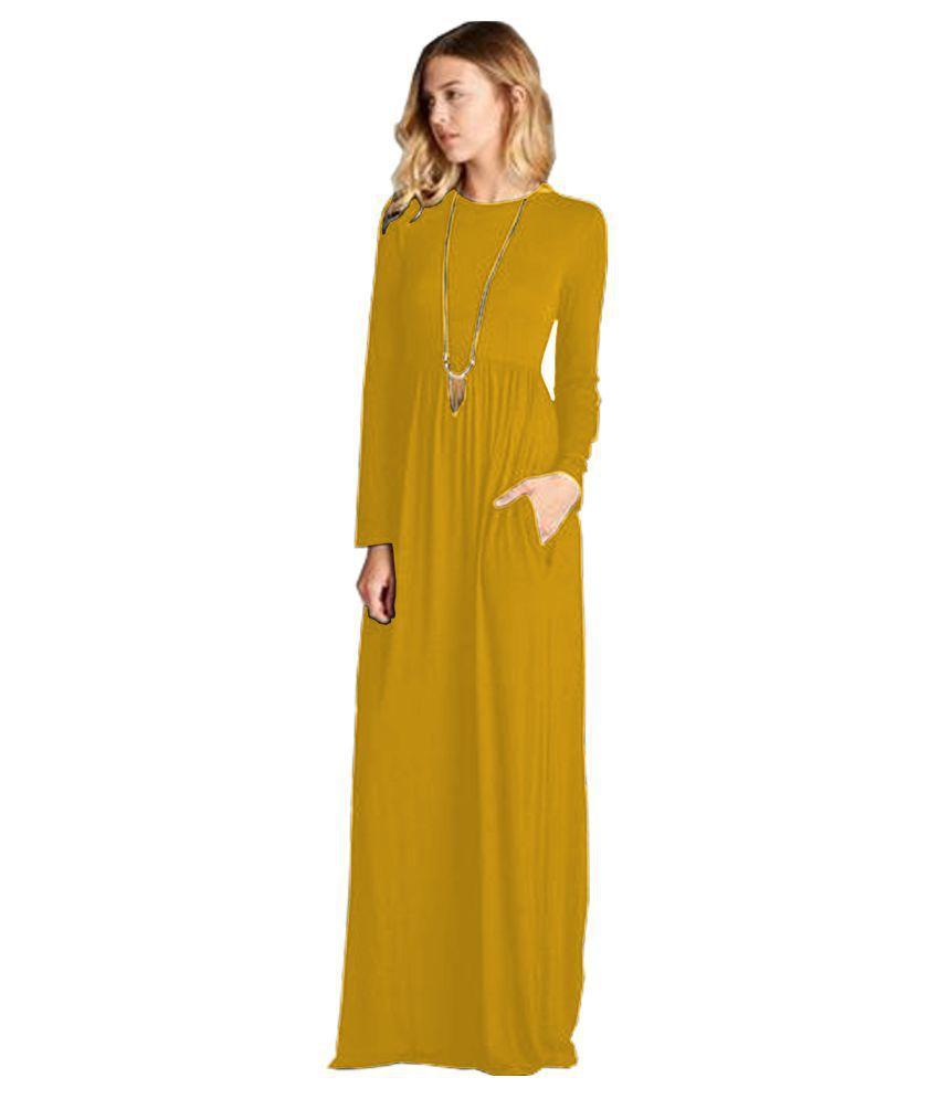 Ritsila Rayon Yellow A- line Dress