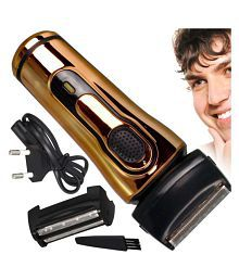 SJ Rechargeable Double Bladed Hair Shaver with Trimmer Clipper for Men Foil Shaver ( Golden )