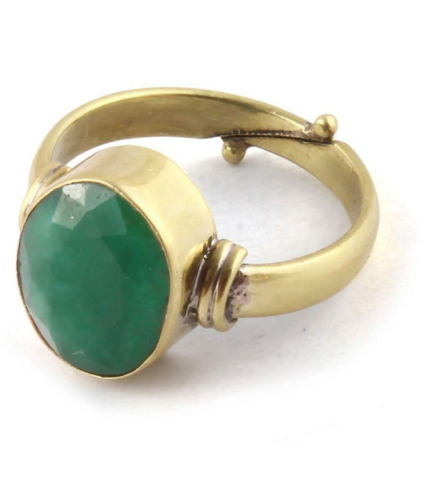 9.25RaatiNatural Certified Panna Emerald Gemstone Panchdhatu Ring for Men