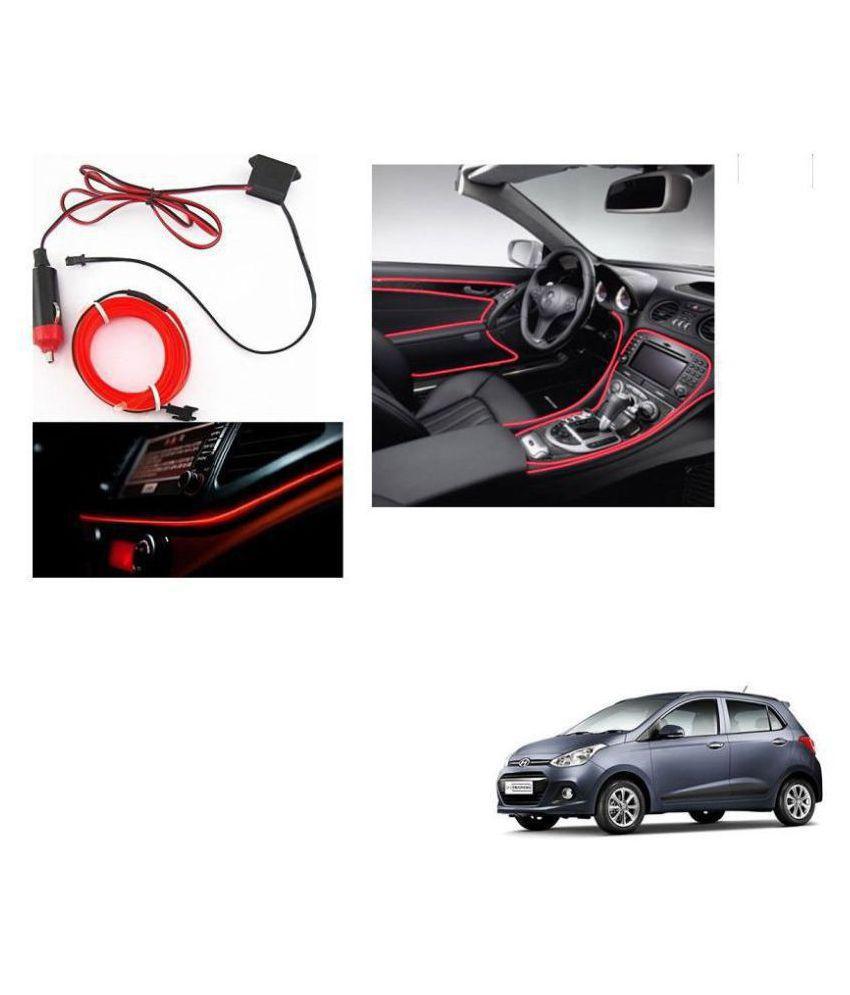 Auto Addict Red Color 12V 5Mtrs Roll Cold Light Car Socket Strip Neon Lamp Creator Decor Dashboard Interior Lighting For Hyundai Grand i10