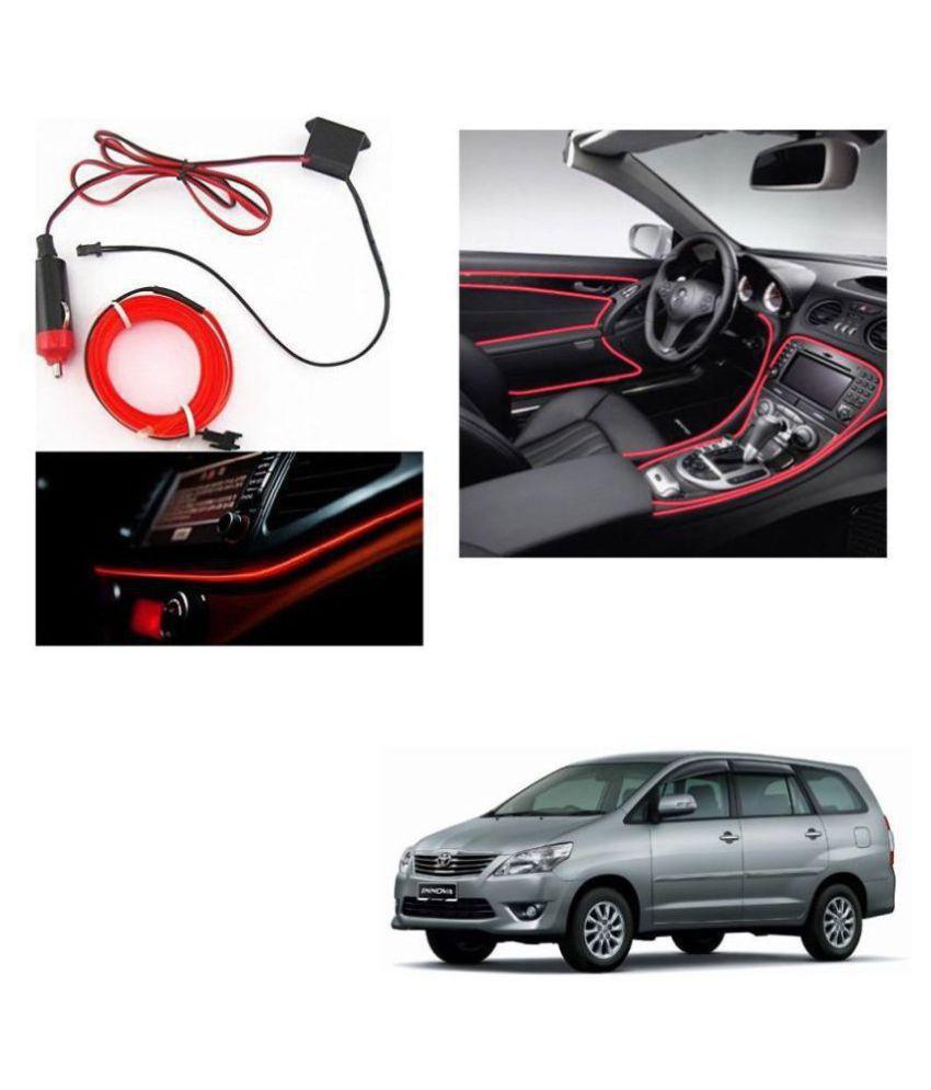Auto Addict Red Color 12V 5Mtrs Roll Cold Light Car Socket Strip Neon Lamp Creator Decor Dashboard Interior Lighting For Toyota Innova