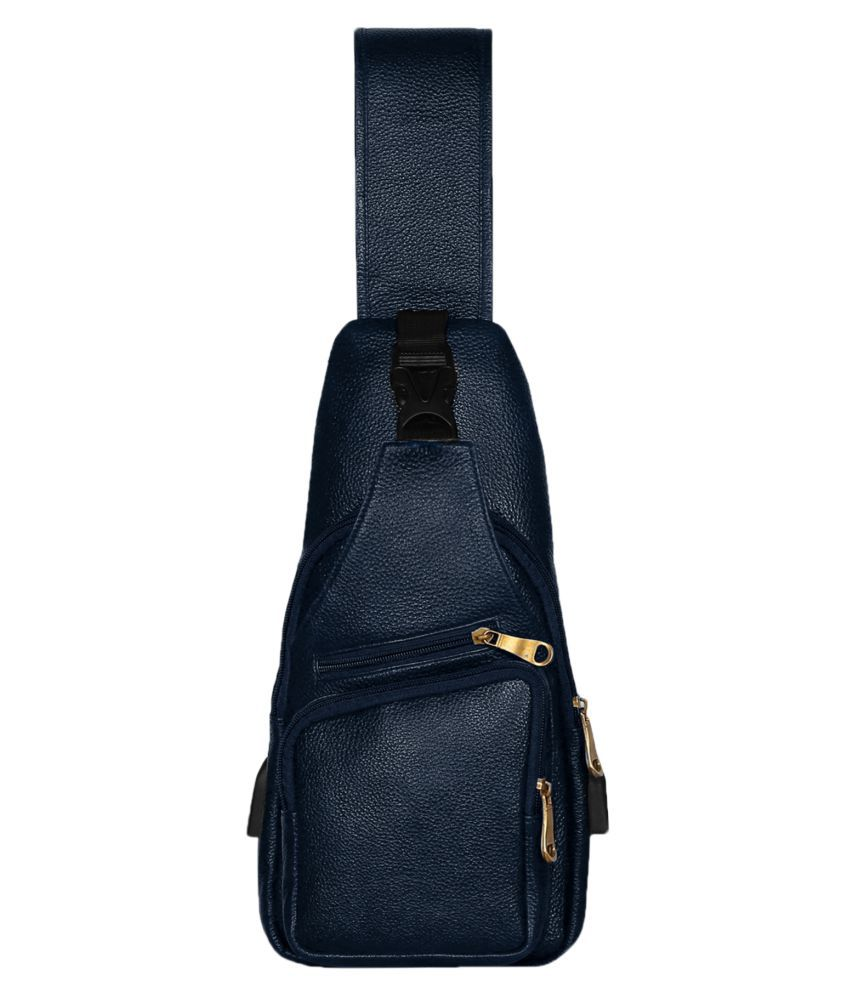 Scharf Blue Leather Casual Messenger Bag