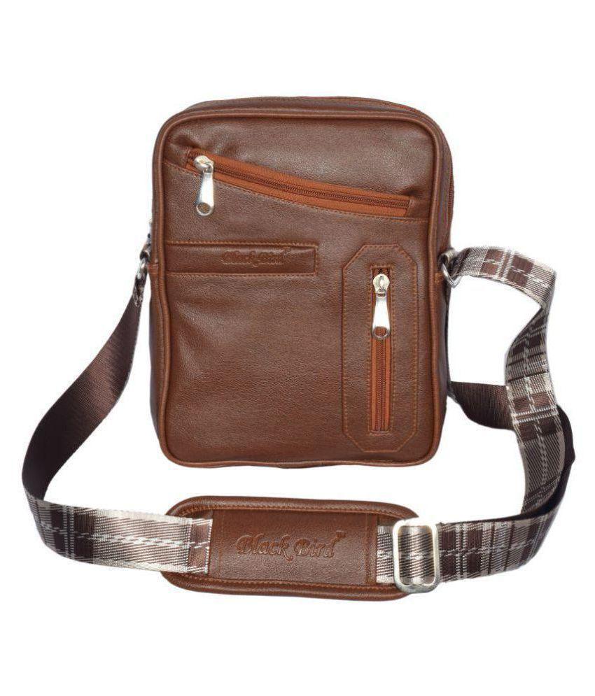 Black Bird Brown Synthetic Casual Messenger Bag
