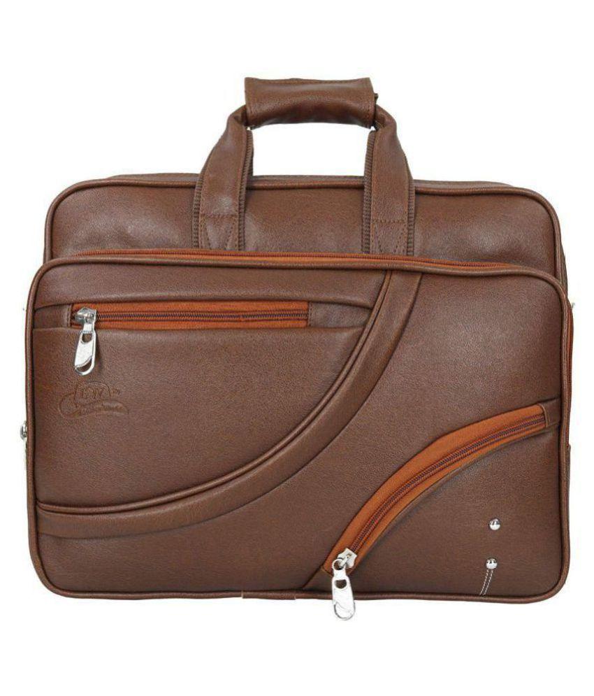 Leather World Laptop Brown P.U. Office Bag