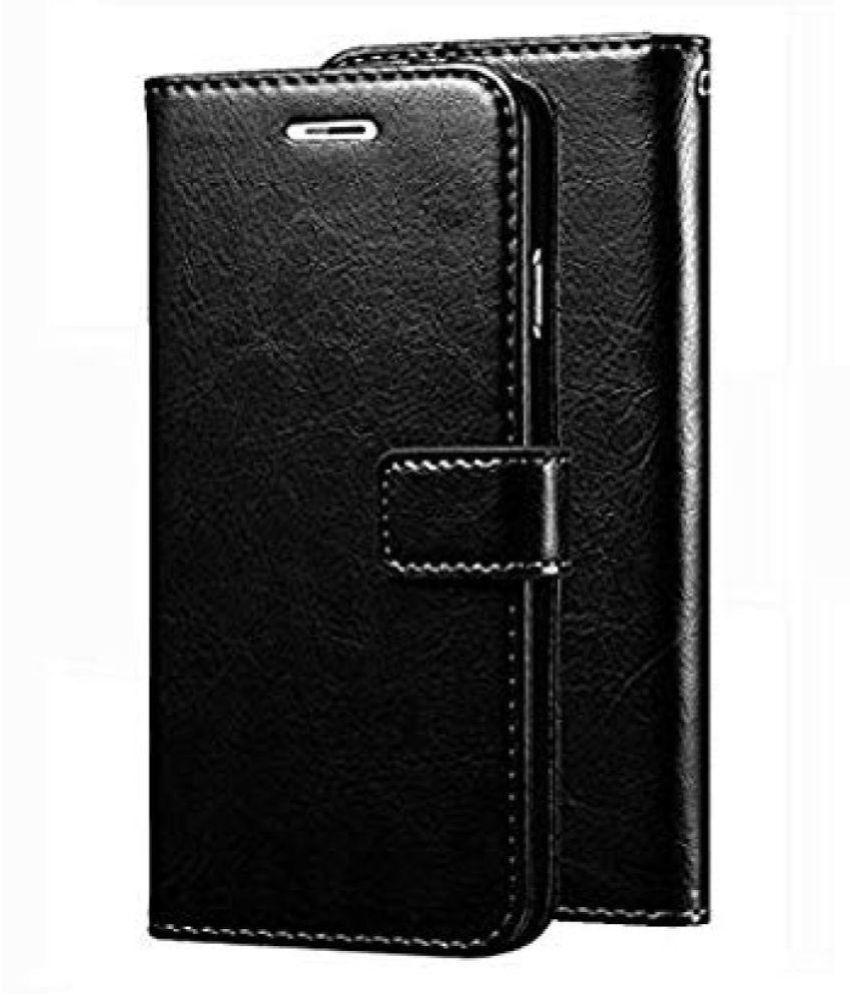 Samsung galaxy J2 2018 Flip Cover by Doyen Creations - Black Original Vintage Look Leather Wallet Case