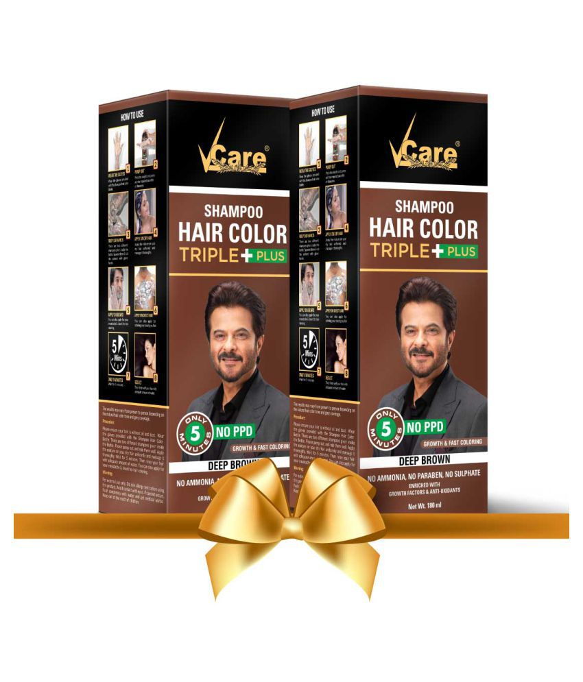 VCare Shampoo Hair Color Temporary Hair Color Brown 180 mL Pack of 2