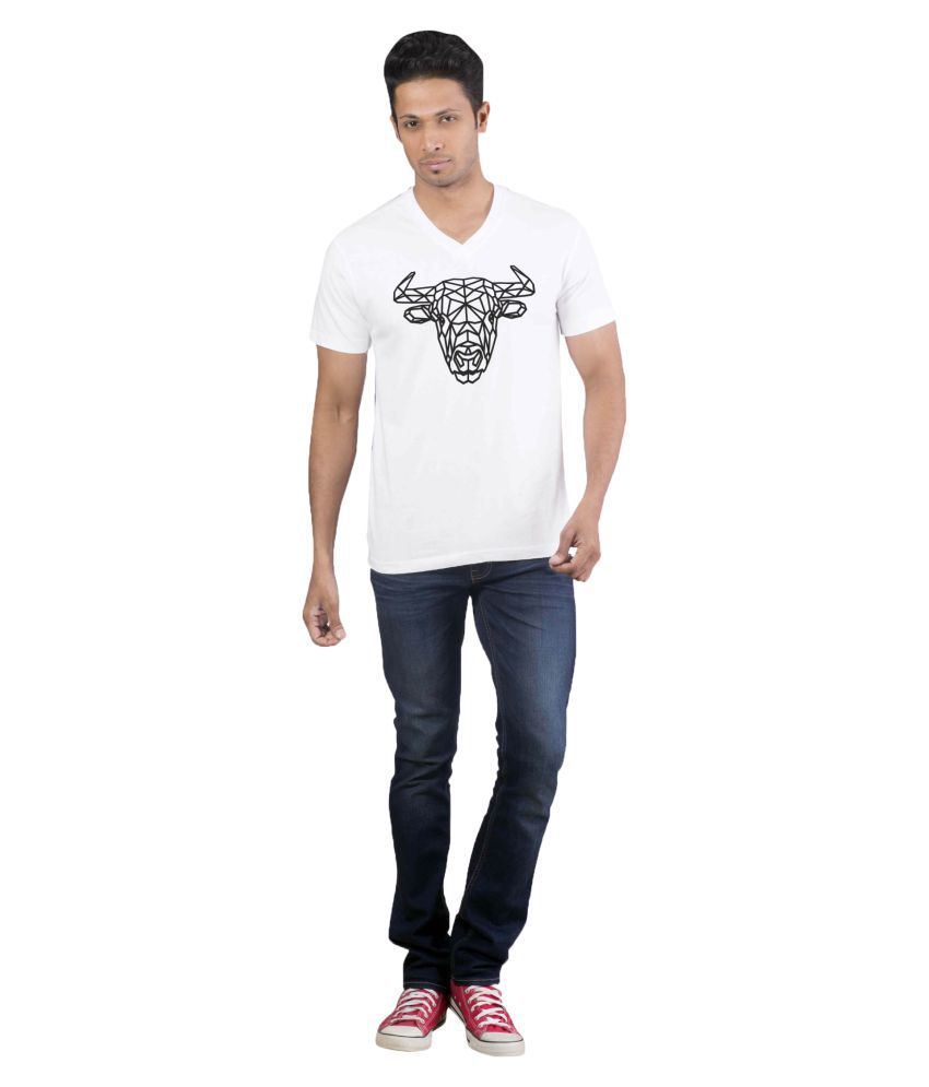 Avivee 100 Percent Cotton White Printed T-Shirt