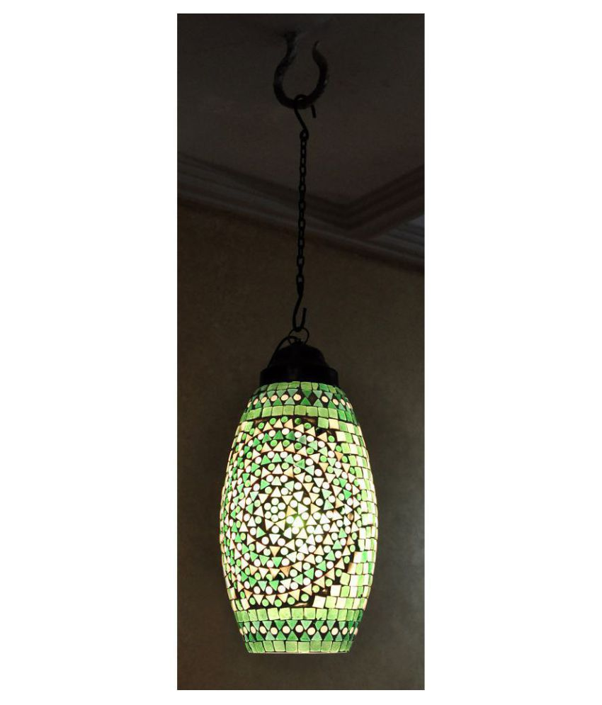 Lal Haveli Glass Decorative Hanging Lantern Ceiling Lamp Pendant Multi - Pack of 1