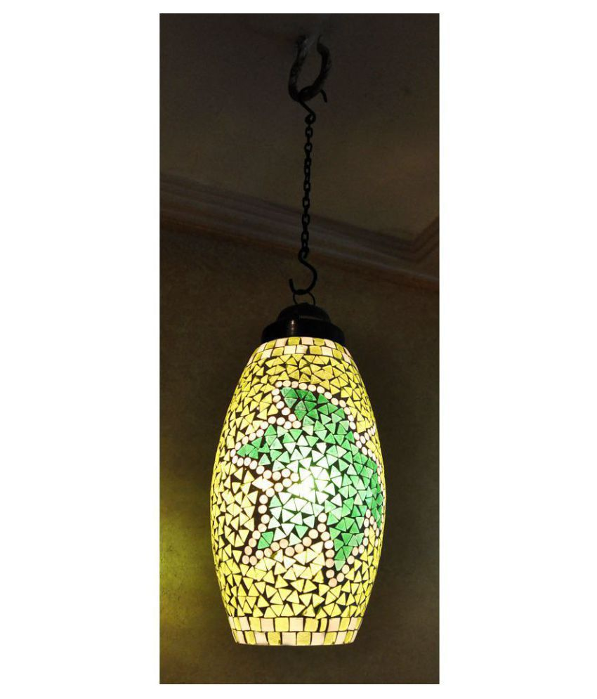 Lal Haveli Glass Hanging Mosaic Glass Night Lamp Pendant Green - Pack of 1