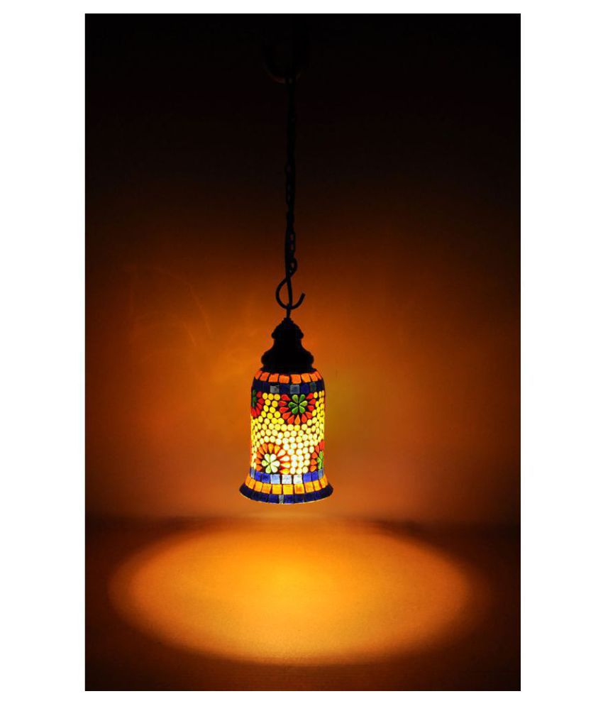 Lal Haveli Glass Home Decoration Indoor Ceiling Light Night Lamp Pendant Multi - Pack of 1