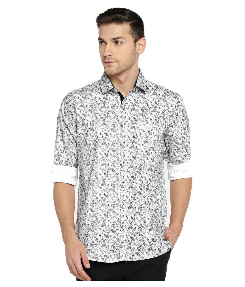 Solemio 100 Percent Cotton Grey Prints Shirt