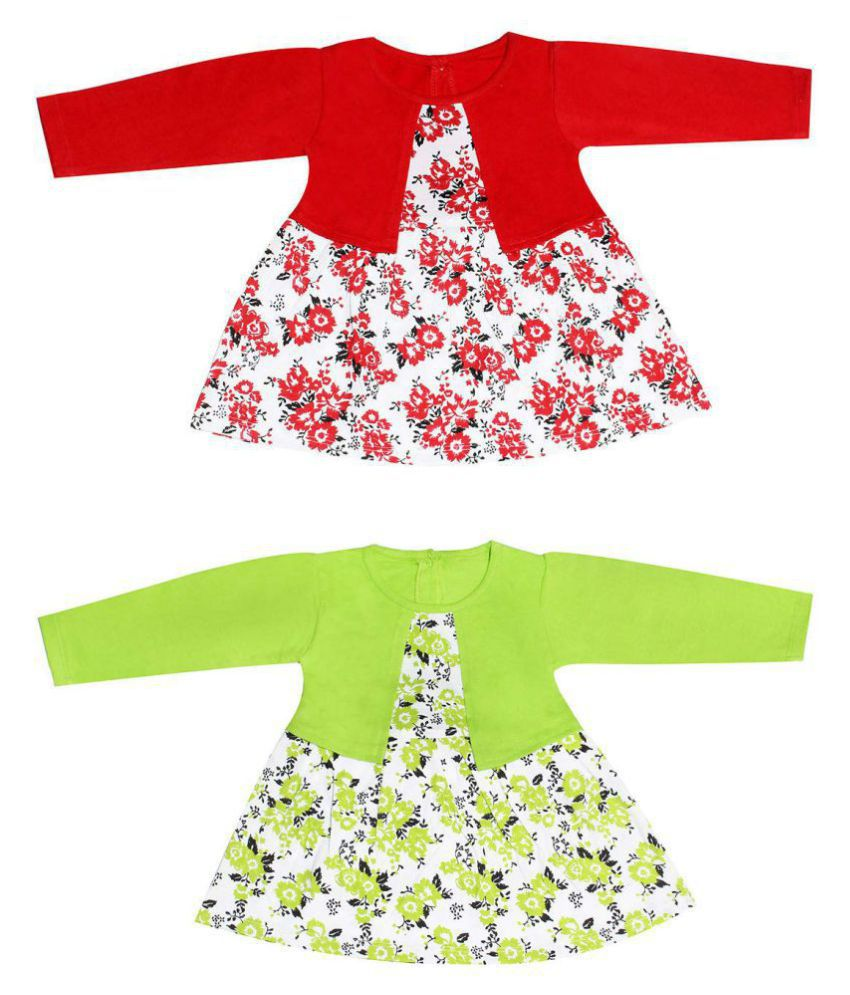 Babeezworld Regular Daily Wear Baby Girl's Cotton Full Sleeves Frock with attached Shrug Dress ( Kids Combo Set Pack Of 2 )