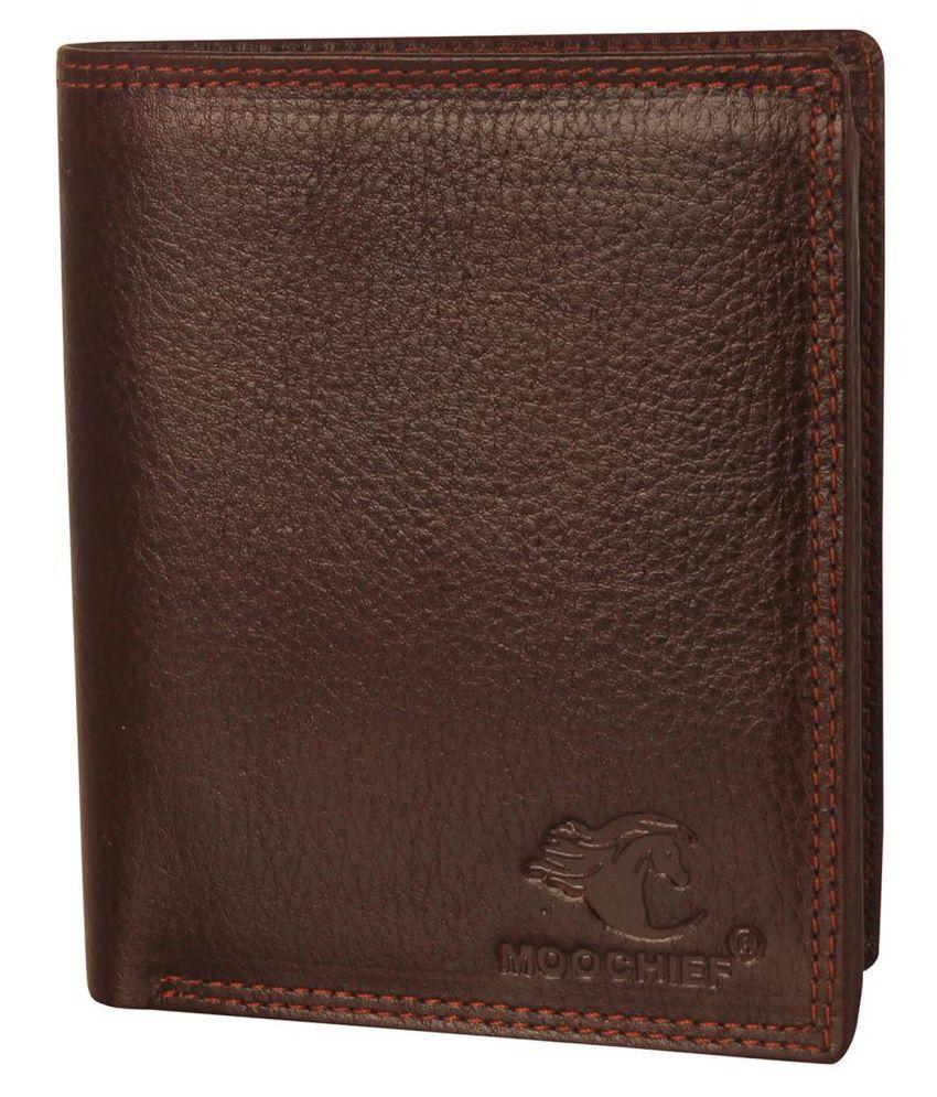 Moochief Leather Brown Formal Regular Wallet