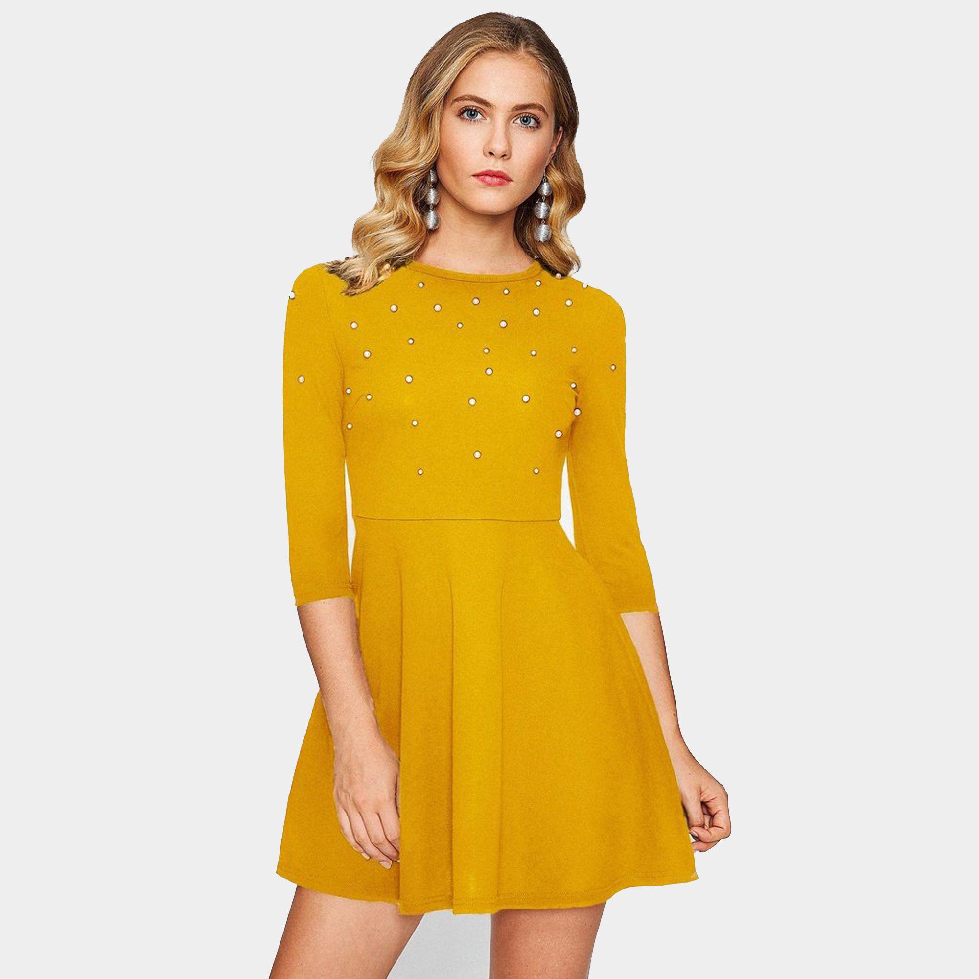Addyvero Cotton Lycra Yellow Skater Dress
