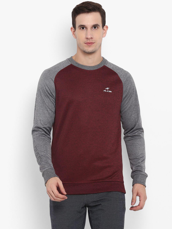 Alcis Maroon Polyester Fleece Sweatshirt Single Pack