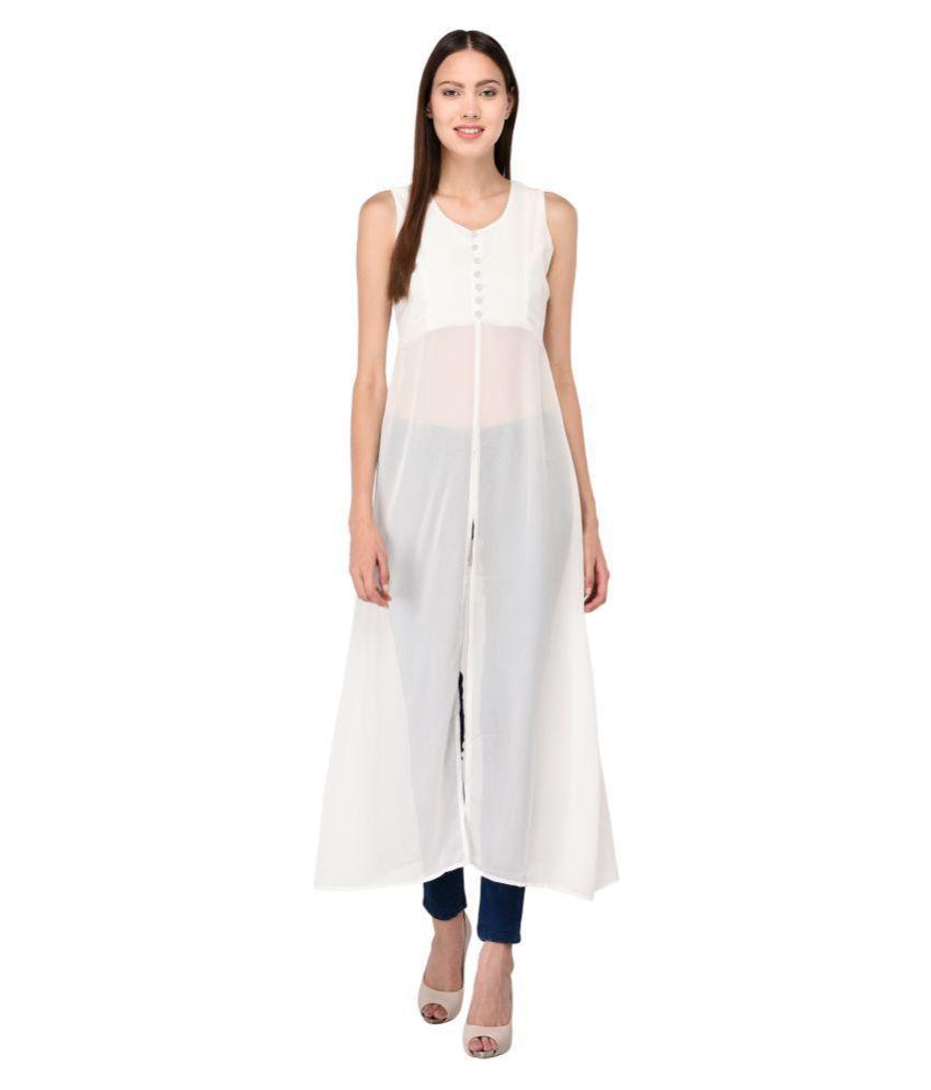 Triraj Georgette White Regular Dress