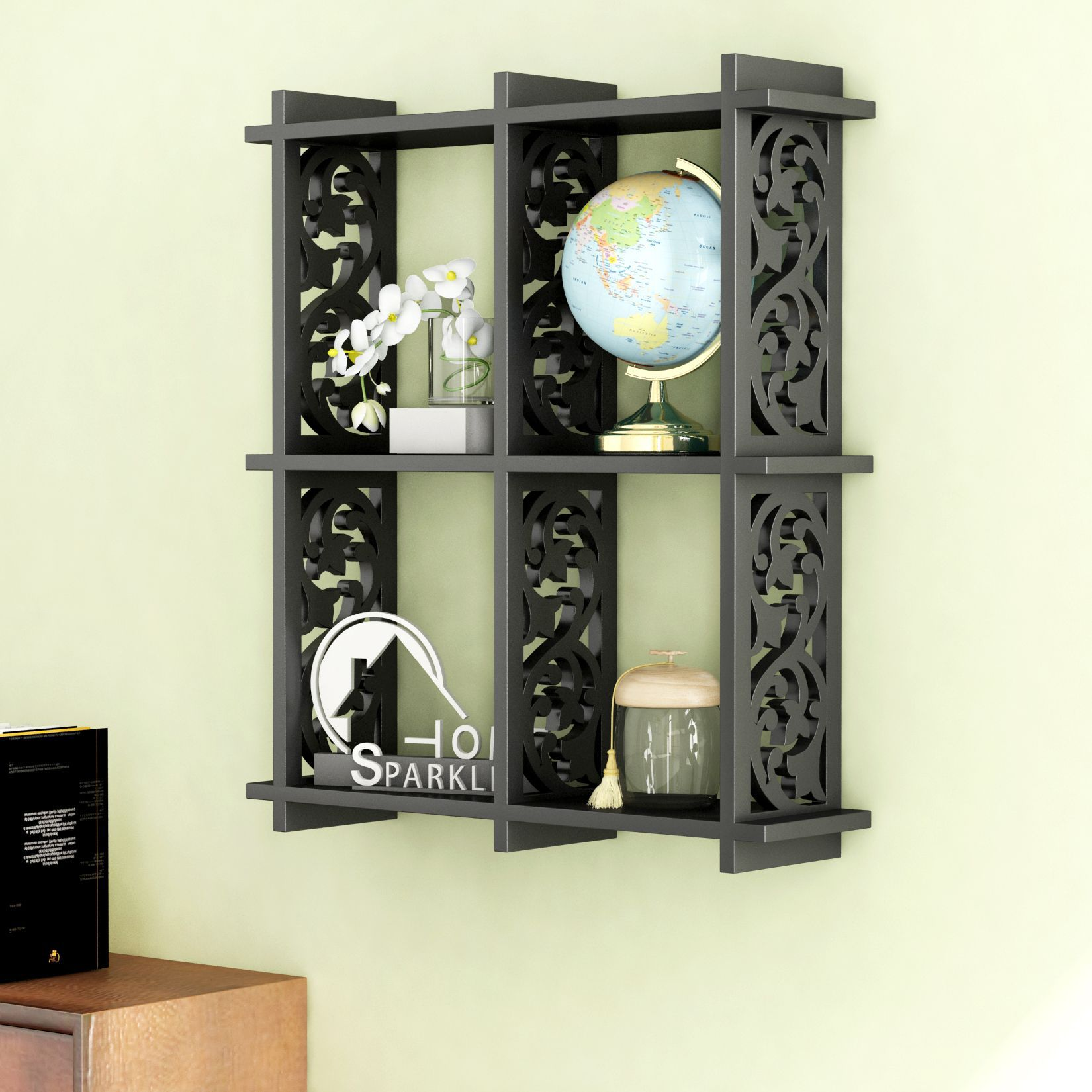 Home Sparkle MDF 4 Pocket Carved Wall Shelf For Wall Décor -Suitable For Living Room/Bed Room (Designed By Craftsman)