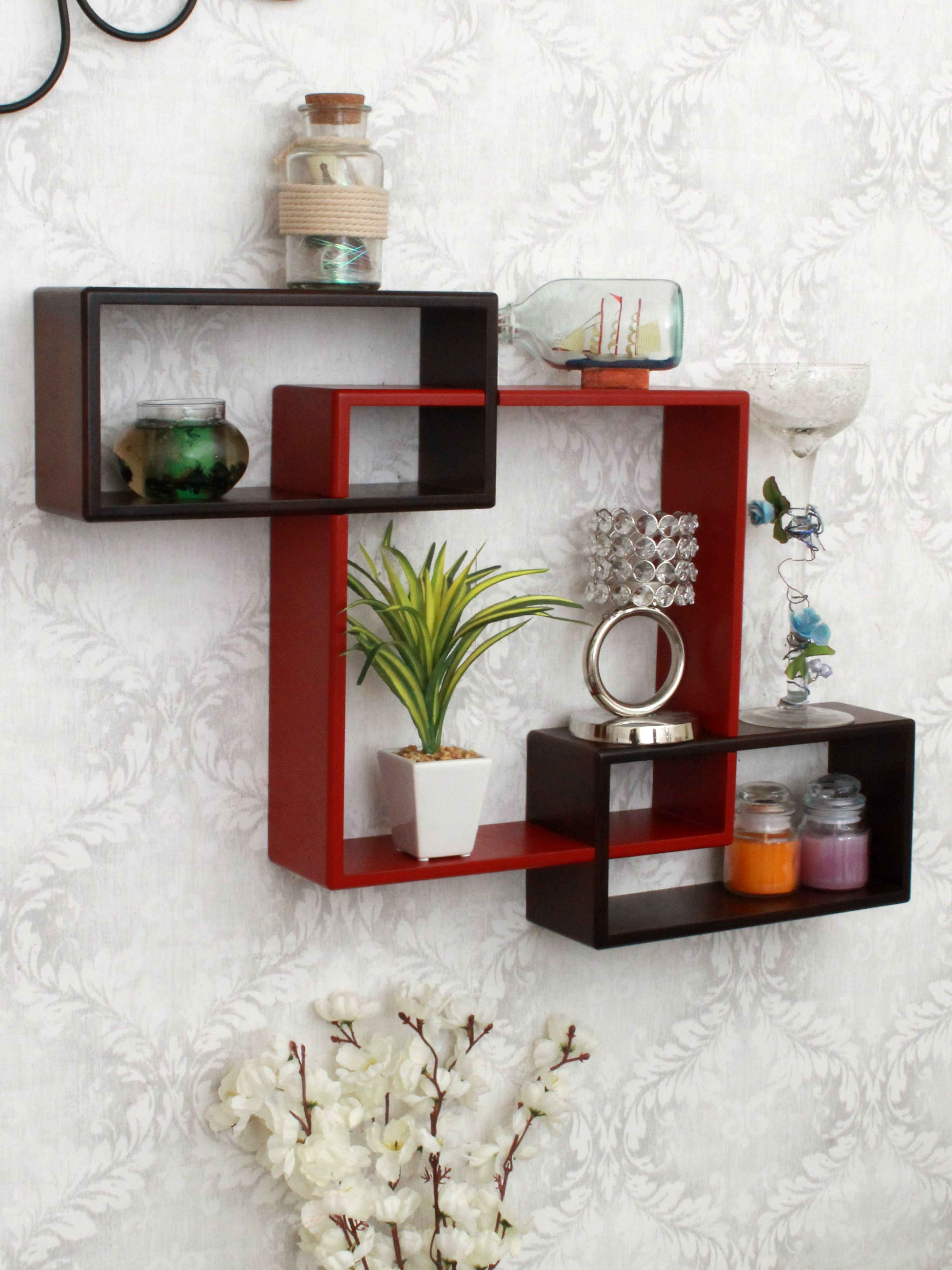 Home Sparkle MDF Mozaic Shelf For Wall Décor -Suitable For Living Room/Bed Room (Designed By Craftsman)