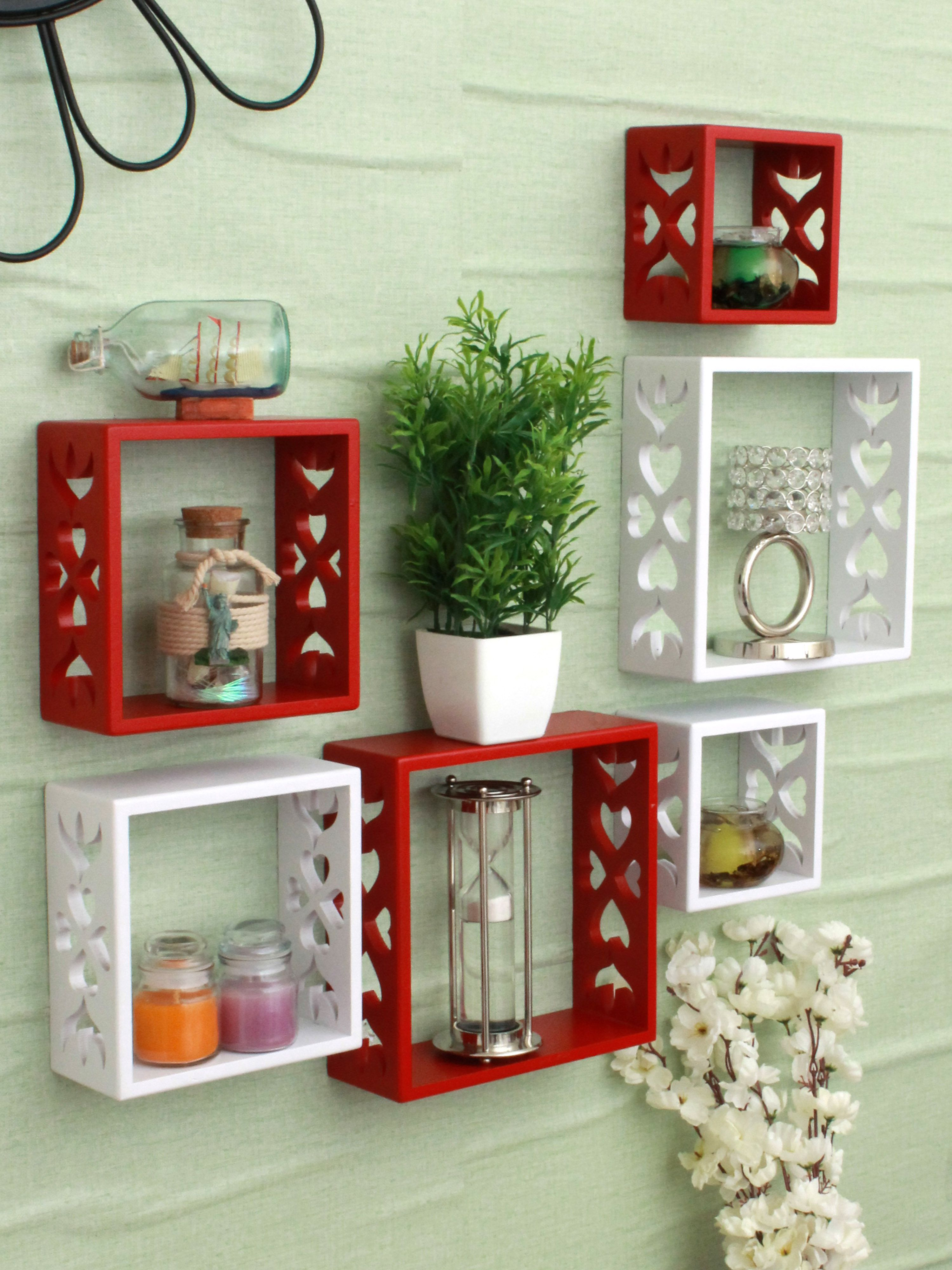 Home Sparkle MDF Set of 6 cube Wall Shelves For Wall Décor -Suitable For Living Room/Bed Room (Designed By Craftsman)