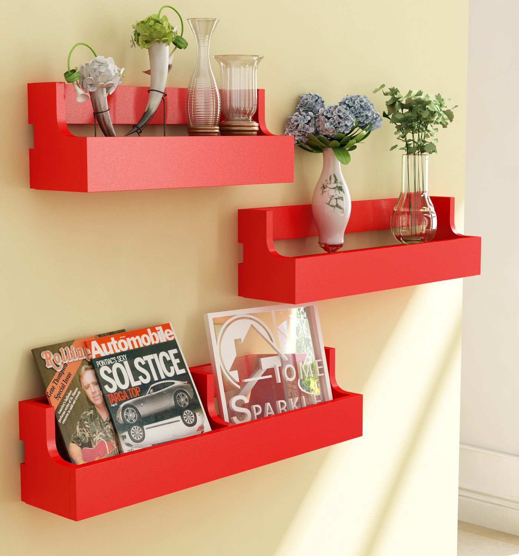 Home Sparkle MDF Set of 3 Pocket Shelf For Wall Décor -Suitable For Living Room/Bed Room (Designed By Craftsman)