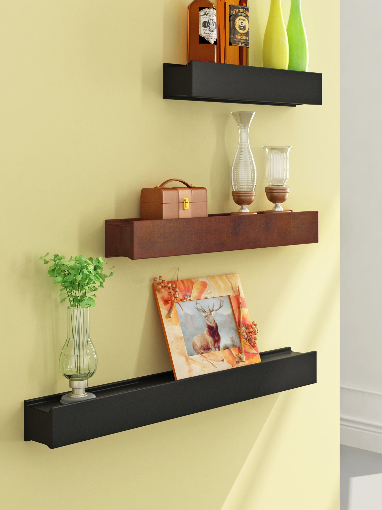 Home Sparkle MDF Set of 3 Floating Wall Shelves For Wall Décor -Suitable For Living Room/Bed Room (Designed By Craftsman)