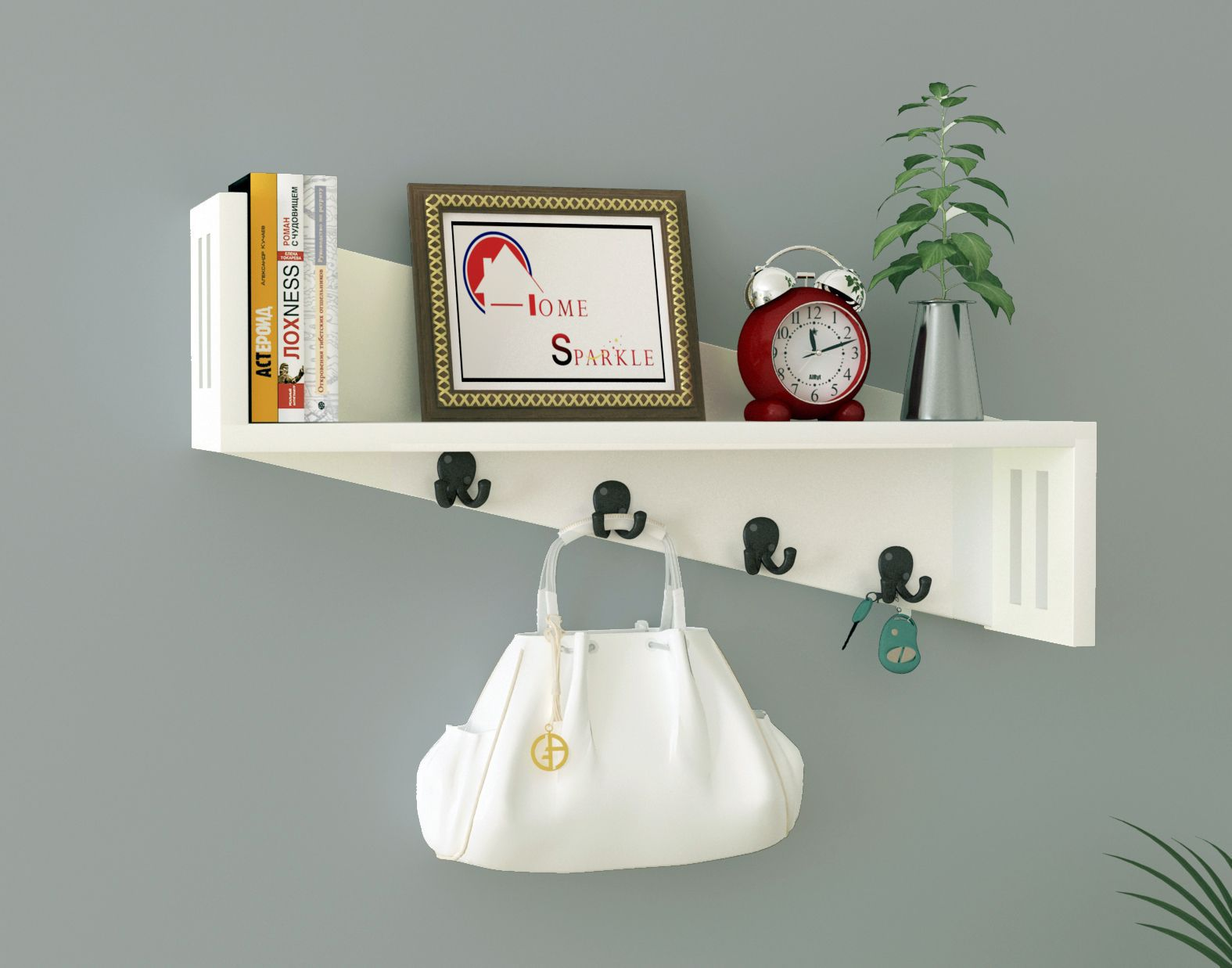 Home Sparkle MDF Wall shelf with Key Holder For Wall Décor -Suitable For Living Room/Bed Room (Designed By Craftsman)