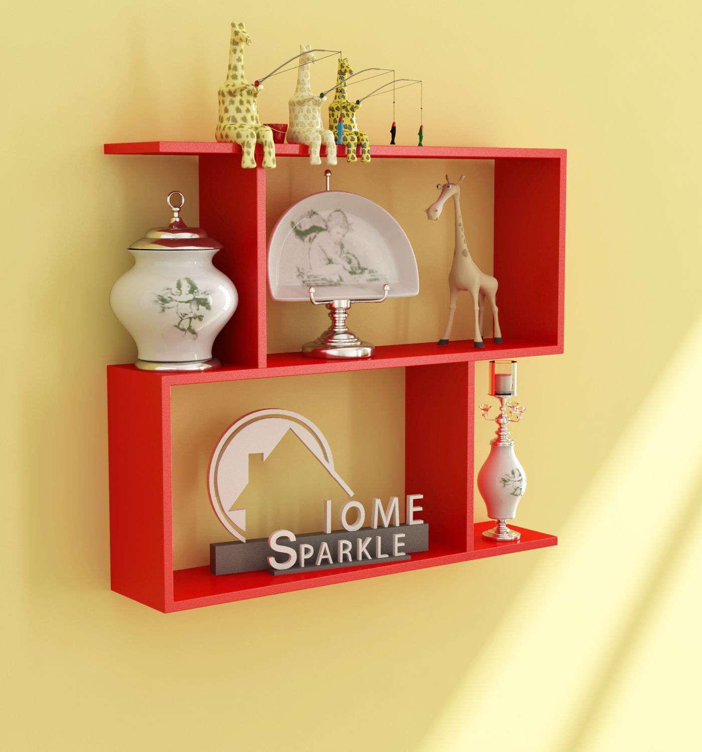 Home Sparkle MDF Z - Shaped Wall Shelf For Wall Décor -Suitable For Living Room/Bed Room (Designed By Craftsman)