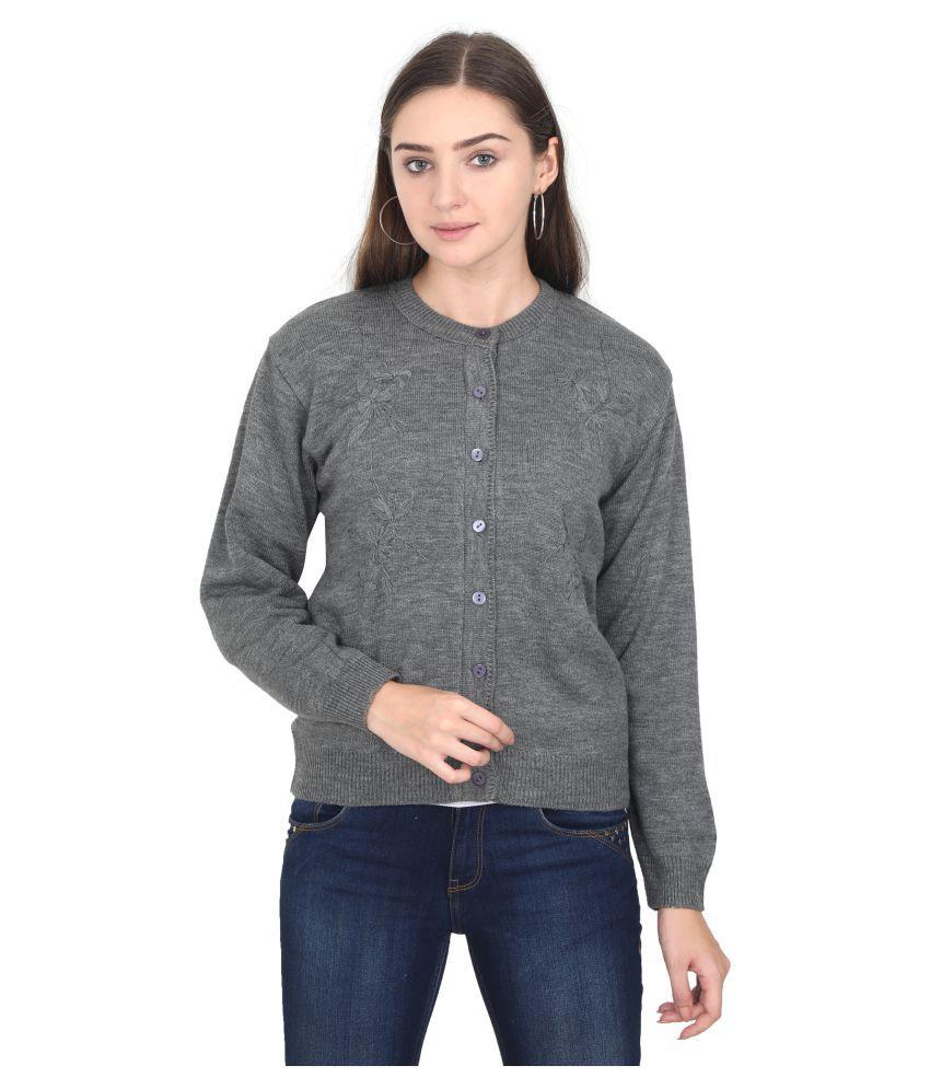 Urban Studio Woollen Grey Non Hooded Sweatshirt