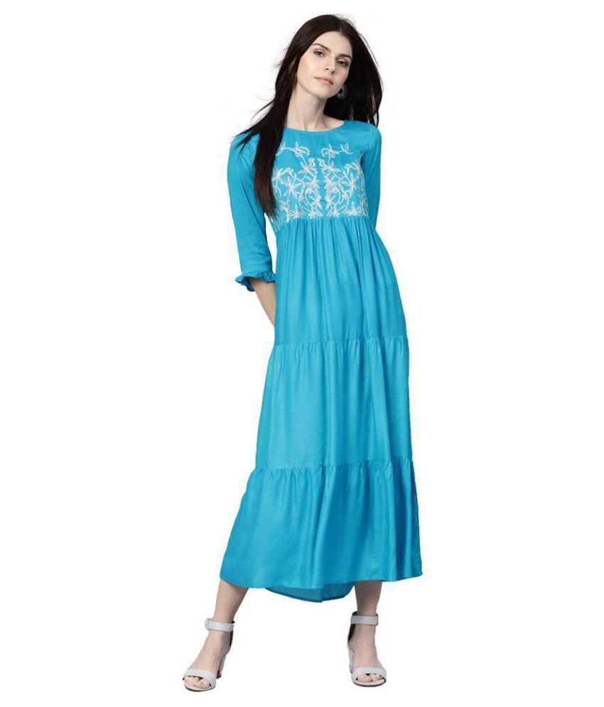 Jaipur Kurti Cotton Turquoise A- line Dress