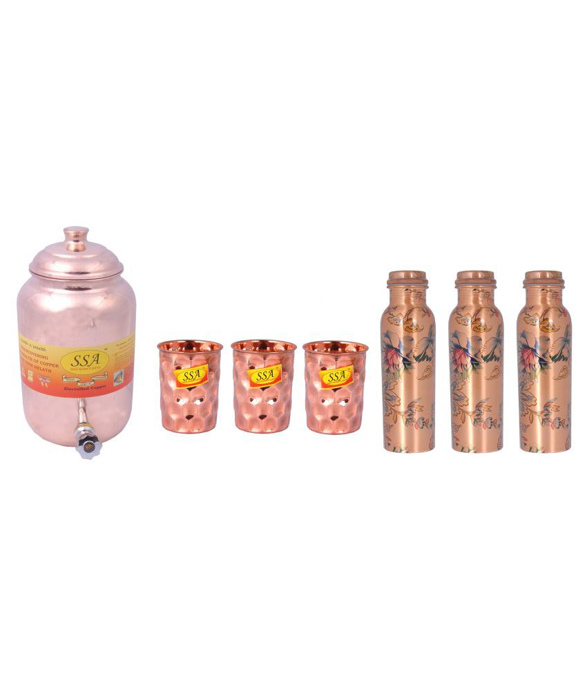 Shiv Shakti Arts Pot Glass Bottle Set 7 Pcs Lemon set