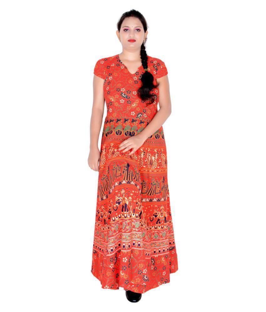 Sttoffa Cotton Orange Fit And Flare Dress