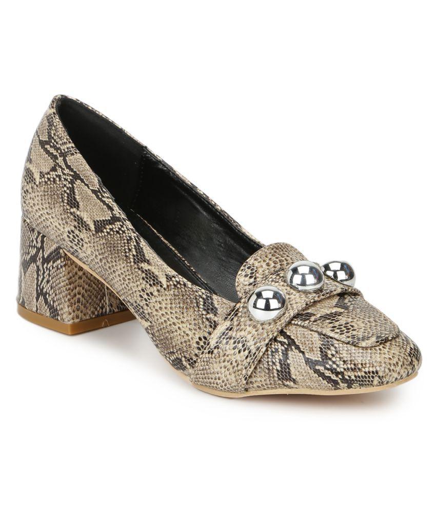 Truffle Collection Beige Block Heels