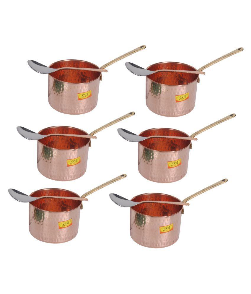 Shiv Shakti Arts Copper SaucePan1.25L 6 Piece Cookware Set