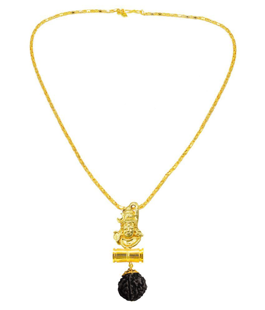 Men Style  Lord Shiva Shankar Trishula Damaru Locket With With Chain Gold-plated Beads Brass, Wood Pendant Set