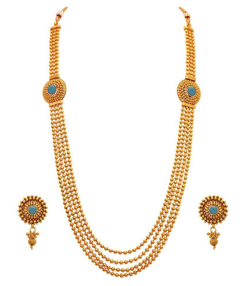 Jfl Jewellery For Less Copper Golden Long Haram Traditional 22kt