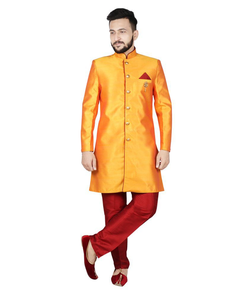 SG LEMAN Yellow Silk Sherwani