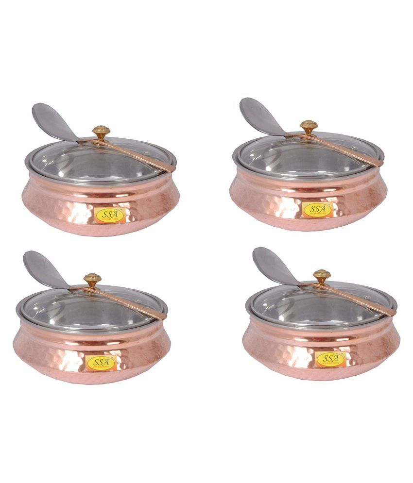 Shiv Shakti Arts Copper Handi Bowl 4 Piece Cookware Set