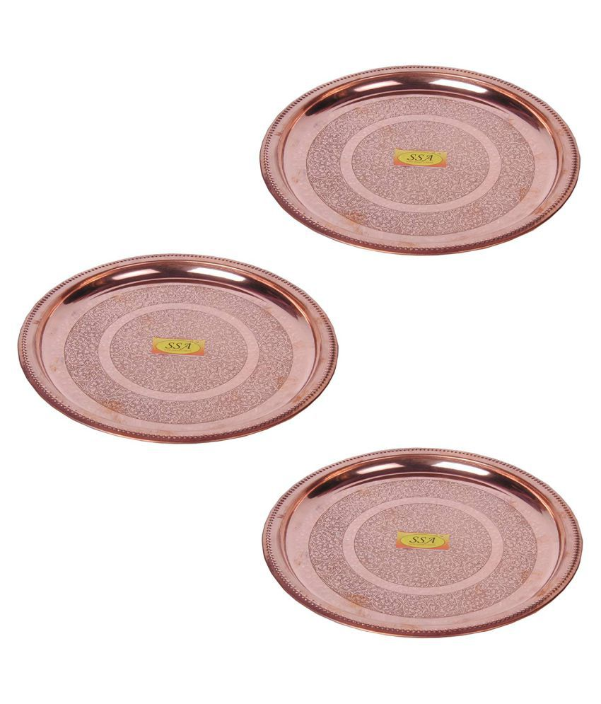 Shiv Shakti Arts Dinnewware Plates Copper Dinner Set of 3 Pieces