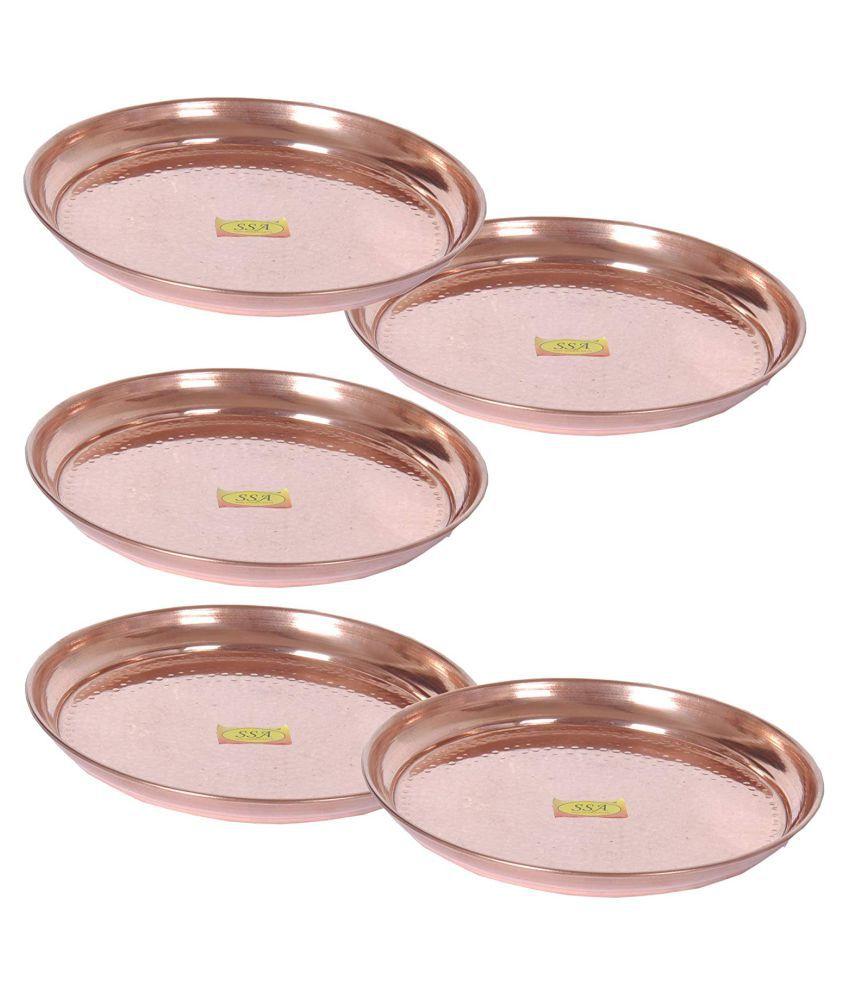 Shiv Shakti Arts Dinnewware Plates Copper Dinner Set of 5 Pieces