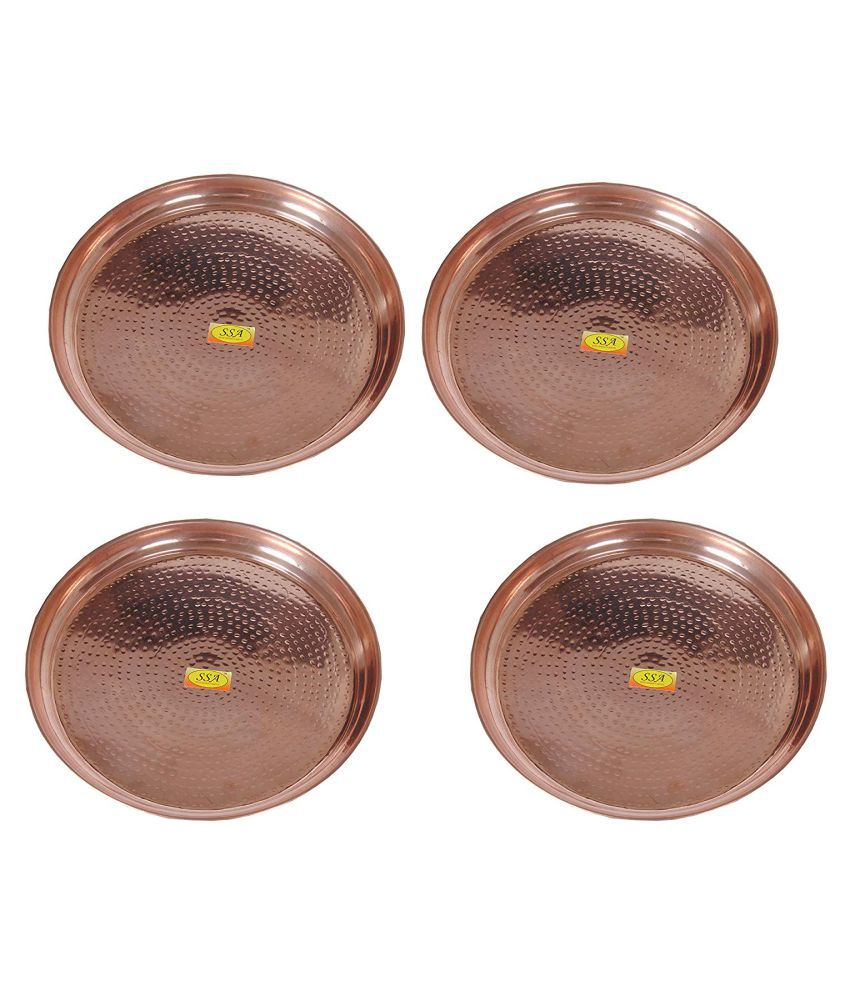 Shiv Shakti Arts Dinnewware Plates Copper Dinner Set of 4 Pieces