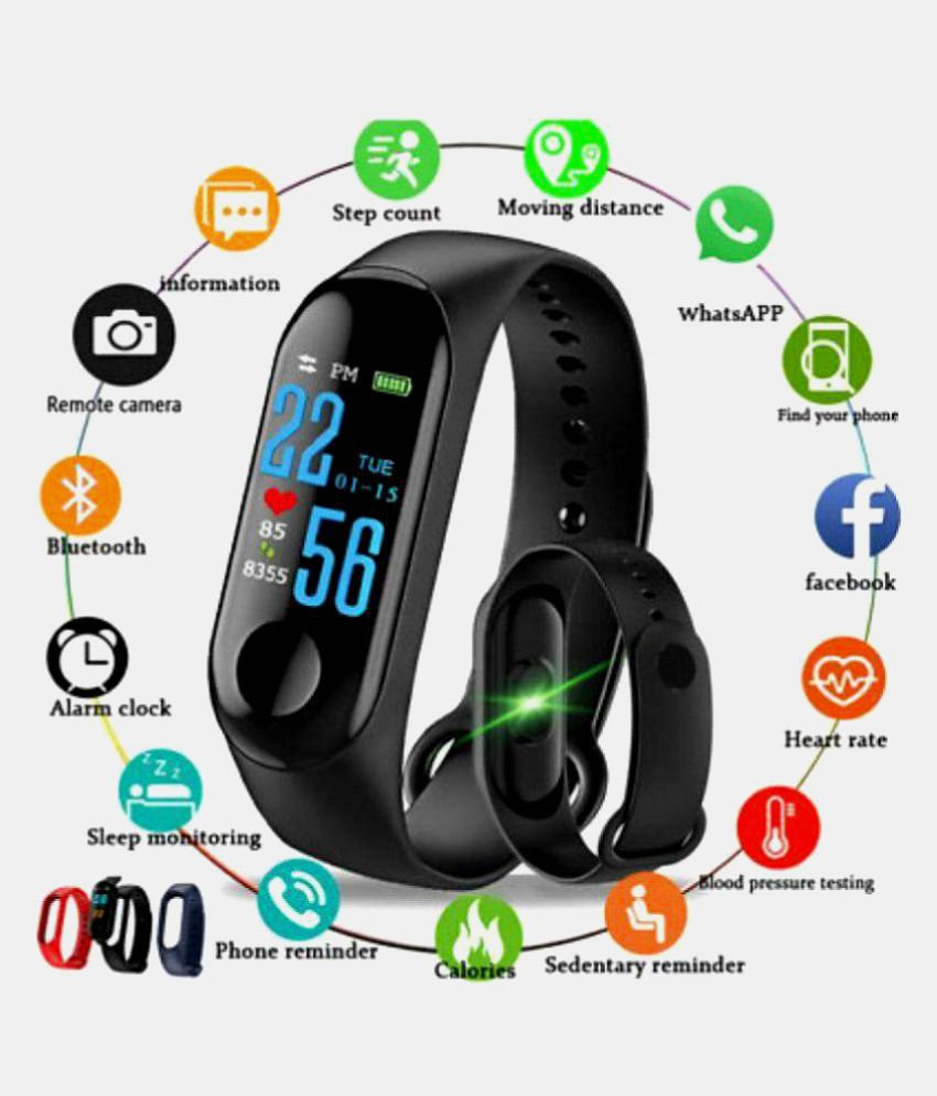 BUYSHOP Xiaomi Mi Note 3 Compatible M3 Band|Heart Rate Band|Health Watch|Calories Tracker Band|Step Count Band|Fitness Tracker|Bluetooth Smart Band|Wrist Watch Band with Alarm System