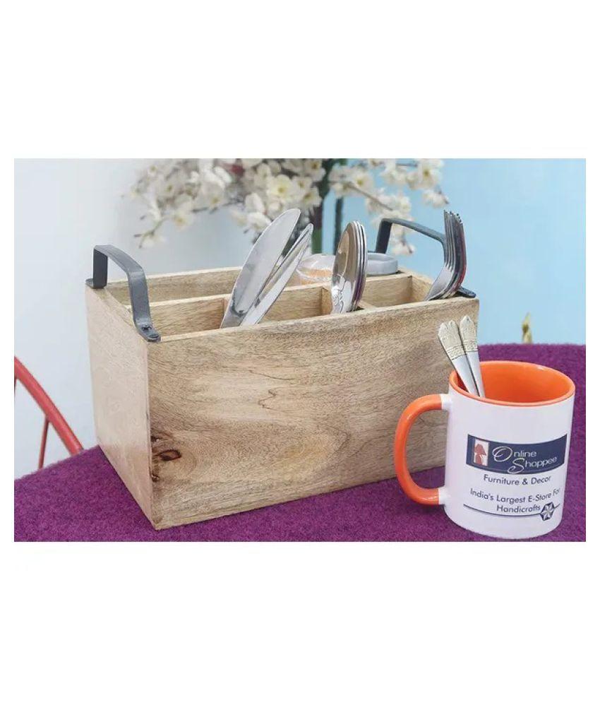Onlineshooppee 1 Pcs Wooden Cutlery Holder