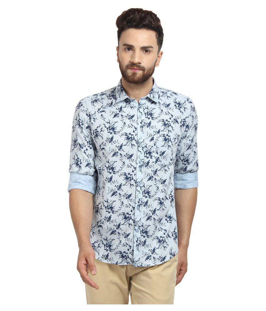 Cape Canary 100 Percent Cotton Blue Prints Shirt