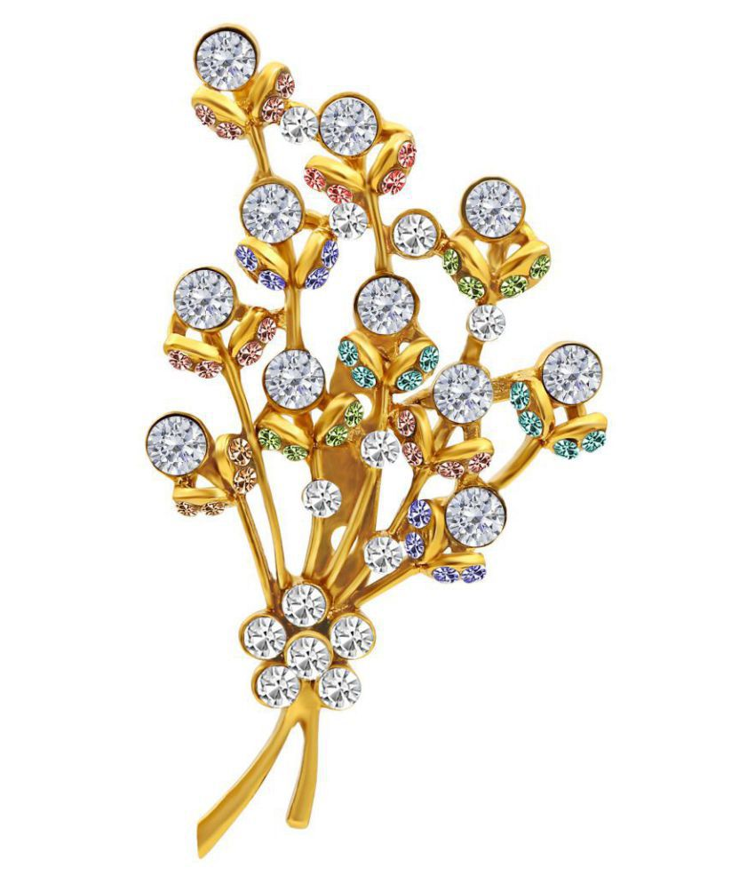 M J Fashion Jewellery Gold Plated AD Long-lasting Charming Brooch For Women
