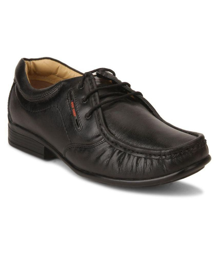 Red Chief Office Genuine Leather Black Formal Shoes