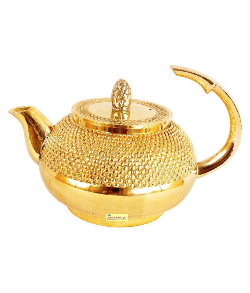 Shiv Shakti Arts Tea Container Pot Brass Tea/Coffee/Sugar Container Set of 1 450 mL